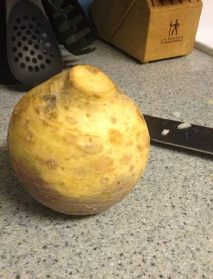 This rutabaga made its way into a veggie pot pie and a batch of veggie soup. Kind of potato and carrot-like, and also very tasty!