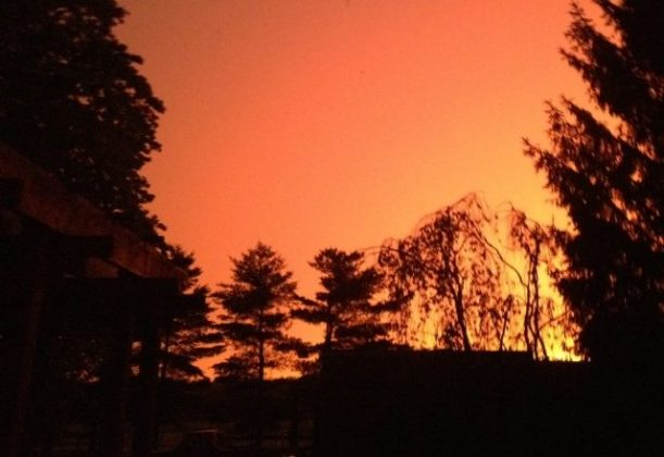 An eerie, orange sky after the storm passed.
